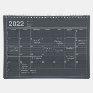 NOTEBOOK CALENDAR 2022 M/BLACK
