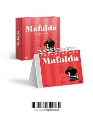 MAFALDA 2022, CALENDARIO DE ESCRITORIO ROJO CON CAJA